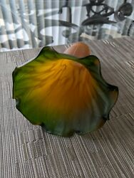 Vintage Lily Pad Lamp Glass Shade Green and Orange Yellow Lilly Pond 6 inch $25.00