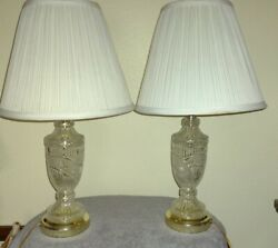 Vintage Pair Crystal Clear Glass Electric Table Lamps 21quot; Gold Tone Base $69.99
