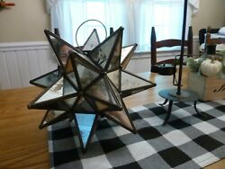 Moravian star 13quot; Vintage mirror Glass Star Candle Hanging light lamp $149.00