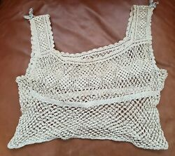 VINTAGE TOP HAND KNITTED LACE HANDMADE RETRO COLLECTIBLE $21.00