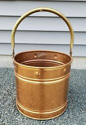 Vintage Large Hammered Copper Bucket With Brass Handle Made in England $59.99