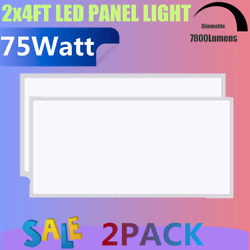2pack 75W 2x4ft LED Flat Panel Light Office Drop Ceiling Dimmable 0 10v 7800lm $329.00