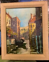 Original Old Oil Painting On Canvas Signed Framed Italy Venice Gondola Antique $65.00
