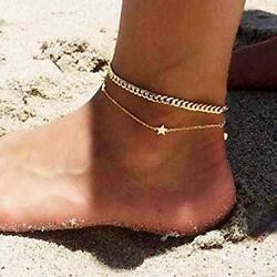 Asooll Layering Beach Star Anklet Chain Gold Lucky Star Ankle Bracelets for Wome $5.53