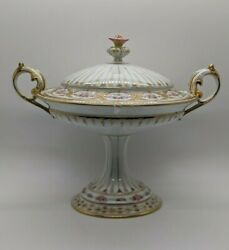 1860#x27;s French Antique Porcelain Cold Meat Dish Gold Gilt Rose Flower Handle M W $467.50
