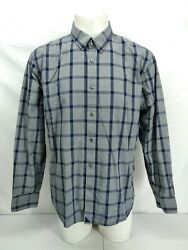 Untuckit Shirt Extra Large Mens Gray Blue Check Plaid Button Up Long Sleeve XL $19.99