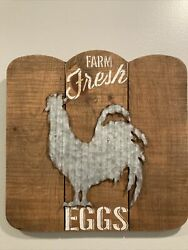 """FARM FRESH EGGS SIGN WOOD AND TIN. Rustic Country Decor Piece 14.5"""" X 14.75""""w $18.99"""