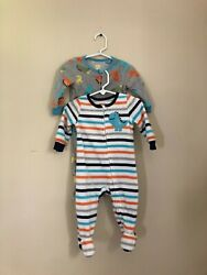Absorba Boys 9 Month Lot Of Two Fleece Footie One Piece Pajamas Sleepers $9.99