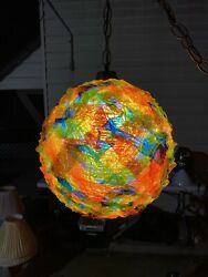Gorgeous Colors Vintage MCM Lucite Acrylic Ribbon Candy Hanging Swag Light Lamp $385.00
