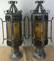 Pair Vintage Spanish Revival Gothic Iron Amber Glass Outdoor Post Lamp Light E $149.99