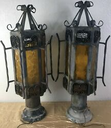 Pair Vintage Spanish Revival Gothic Iron Amber Glass Outdoor Post Lamp Light G $129.99