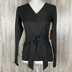 Halogen Tie Front Waist Top XS Gray V Neck Knit Long Sleeve NEW $15.99