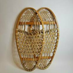 Traditional Style Wooden Bear Paw Snowshoes Wood and Rawhide Construction PREMO $125.00