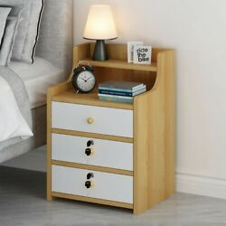 Simples End Table Bedroom Nightstand Coffee Table 3 Drawer With Lock Cabinet $55.88