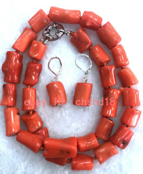 Natural 10x13mm Orange Coral Cylindrical Pendant Necklace Earring Set 18 inches $25.99