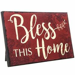 Bless This Home Rustic Decor Red Wood Sign Farm House Decorations Wall or $14.70