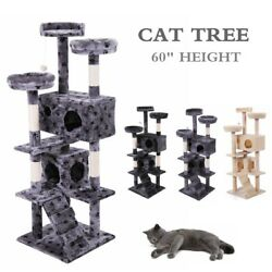 60quot; Cat Tree Condo Tower Kitten Activity Tower Playhouse Furniture Scratch Post $65.99
