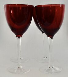 Very Rare Vintage Set of 4 Ionia Ruby Red Glass Wine Glasses $8.95