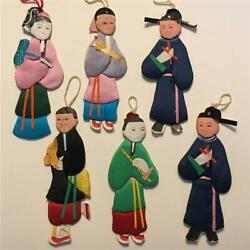 """Vtg Chinese Paper Doll Ornaments Lot 6 Silk Immortals 4.2"""" 4.5"""" Embossed China $7.99"""
