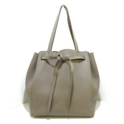 Auth CELINE Cabas Phantom Small With Belt GrayBeige Leather Tote Bag $890.00