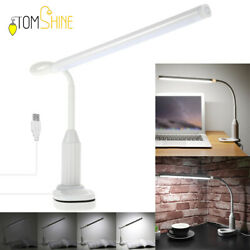 Dimmable Desk Lamp Clip On LED Flexible Arm USB Study Reading Table Lights H0W6 $14.24