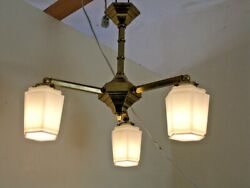Chandelier Antique 1910 1930 Art Deco. Frosted Glass Shades. $325.00