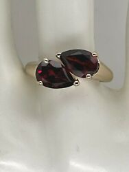 14k Yellow Gold Double Pear Garnet Bypass Ring 3.2 Cts Size 8 3.6 Grams $255.00