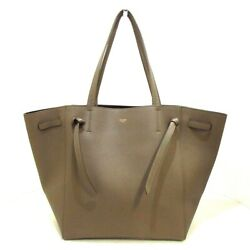 Auth CELINE Cabas Phantom Small With Belt GrayBeige Leather Tote Bag $1232.00