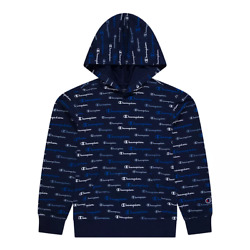Boys 8 20 Champion Multi Color Script Hoodie in Navy Size XL Retail $34.00 $24.99