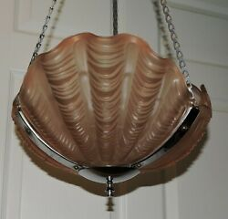 ART DECO CHROME amp; PINK GLASS SHELL HANGING SHADE 1930#x27;S ENGLISH ODEON STYLE $199.00