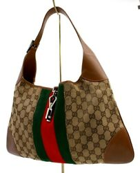 【Rank AB】 Authentic Gucci Jackie Sherry GG Canvas Shoulder Bag Hand Bag Italy $399.99