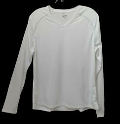 Womens Champion L Top White Long Sleeve Sport Athletic $14.00