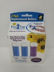 Pack of 3 PedEgg Power Replacement Rollers by BulbHead Bonus Smoothing NEW $22.95