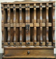 Vintage Hanging Wooden Spice Rack 2 Cabinet Doors 1 Drawer Apothecary Style $31.00