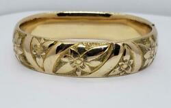Antique Yellow Gold Filled Bangle Bracelet Etched Flower 7.25quot; $90.00