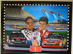 FRAMED BORN TO FLY DALE EARNHARDT AND JEFF GORDON NASCAR ORIGINAL PAINTING