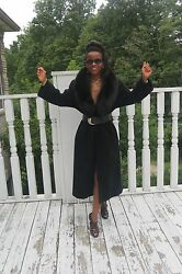 Designer full length black Regency Cashmere & wool fox Fur Coat Jacket S-M 4-10