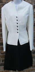 NWOT Genuine TAHARI white long sleeve ribbon jacket amp; black skirt suit size 14 $130.00