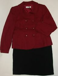 NWOT Genuine TAHARI red black skirt suit size 14 $75.00