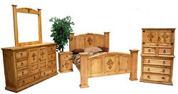 Honey Rustic Cross Bedroom Set  Western Real Solid Wood King Queen Lodge Cabin
