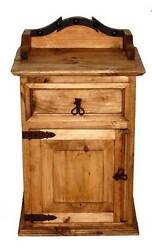 Alamo Night Stand Rustic Western Real Solid Wood Cabin Lodge Bedside Table
