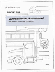 COMMERCIAL DRIVER'S MANUAL FOR CDL TRAINING (NEW JERSEY) ON CD IN PDF PROGRAM. $12.95