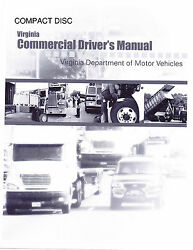 COMMERCIAL DRIVER MANUAL FOR CDL TRAINING (VIRGINIA) ON CD IN PDF PROGRAM. $12.95