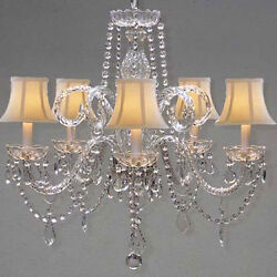New! VENETIAN STYLE ALL CRYSTAL CHANDELIER WITH WHITE SHADES!