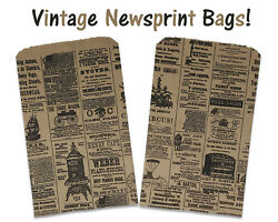 100 6x9 Newspaper Paper Kraft BagsVintage Rustic Style Newsprint Favor Craft $16.95