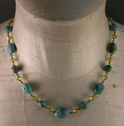Estate LIZ PALACIOS Turquoise Bead & Citrine Faceted Crystal Necklace