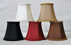 Urbanest Chandelier Lamp Shade Bell Silk Softback w Braid Trim 3quot;x5quot;x4.5quot; $7.99