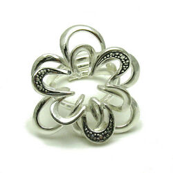 EXTRAVAGANT STERLING SILVER RING SOLID 925 FLOWER NEW ADJUSTABLE SIZE