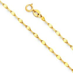 14K Solid Yellow Italian Gold Twisted Mirror Chain Necklace 2 mm 16quot; 18quot; 20quot; $99.99
