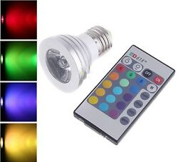 4W RGB E26 led bulb indoor lamp spot light 16 Color changing IR Remote Control $11.45